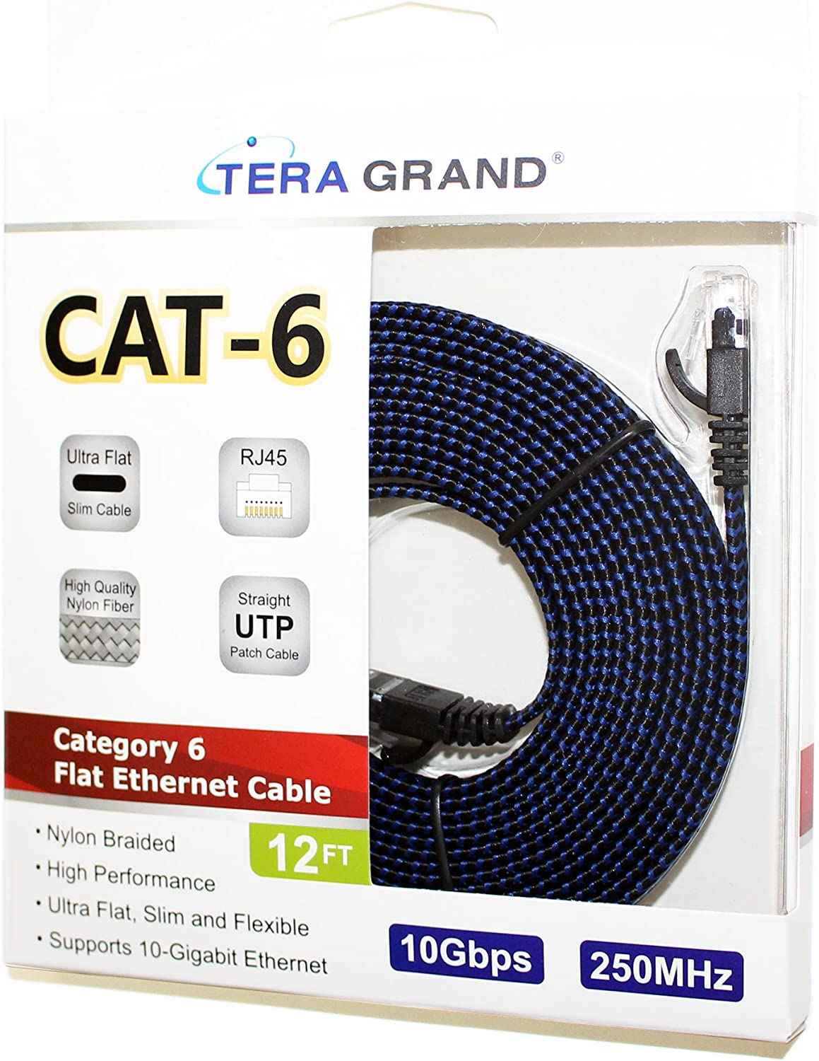 Black//Blue Computer Internet LAN Cable with Snagless RJ45 Connectors 25 Feet 25 ft CAT6 10 Gigabit Ethernet Ultra Flat Braided Network Cable Tera Grand