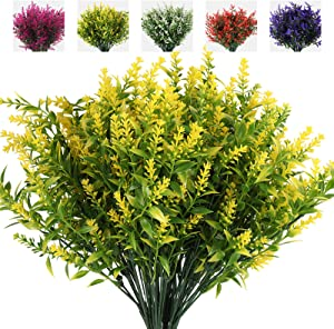 RECUTMS 8 Bundles Artificial Lavender Flowers for Outdoor Decoration, UV Resistant Fake Shrubs Greenery Bushes House Office Garden Patio Indoor Outdoor Decor (Yellow)