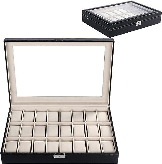 BUSYALL Caja para 24 de Relojes Pulseras Joyería Organizador ...