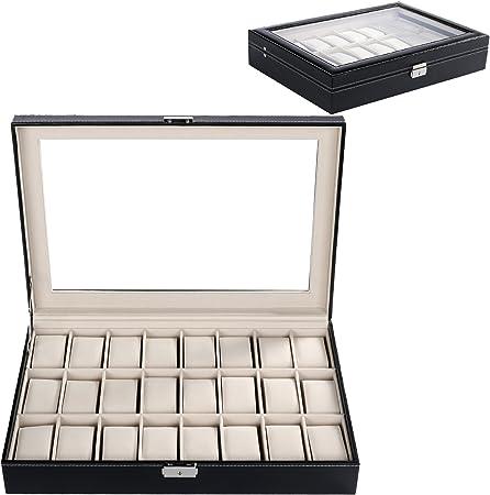 Busyall Caja para 24 de Relojes Pulseras Joyería Organizador Relojero Estuche Exibidor de Relojes de Cuero y Terciopelo Almohadillas Extraibles Ventana de Cristal Cierre con Llave, 43 x 29 x 8cm: Amazon.es: Hogar