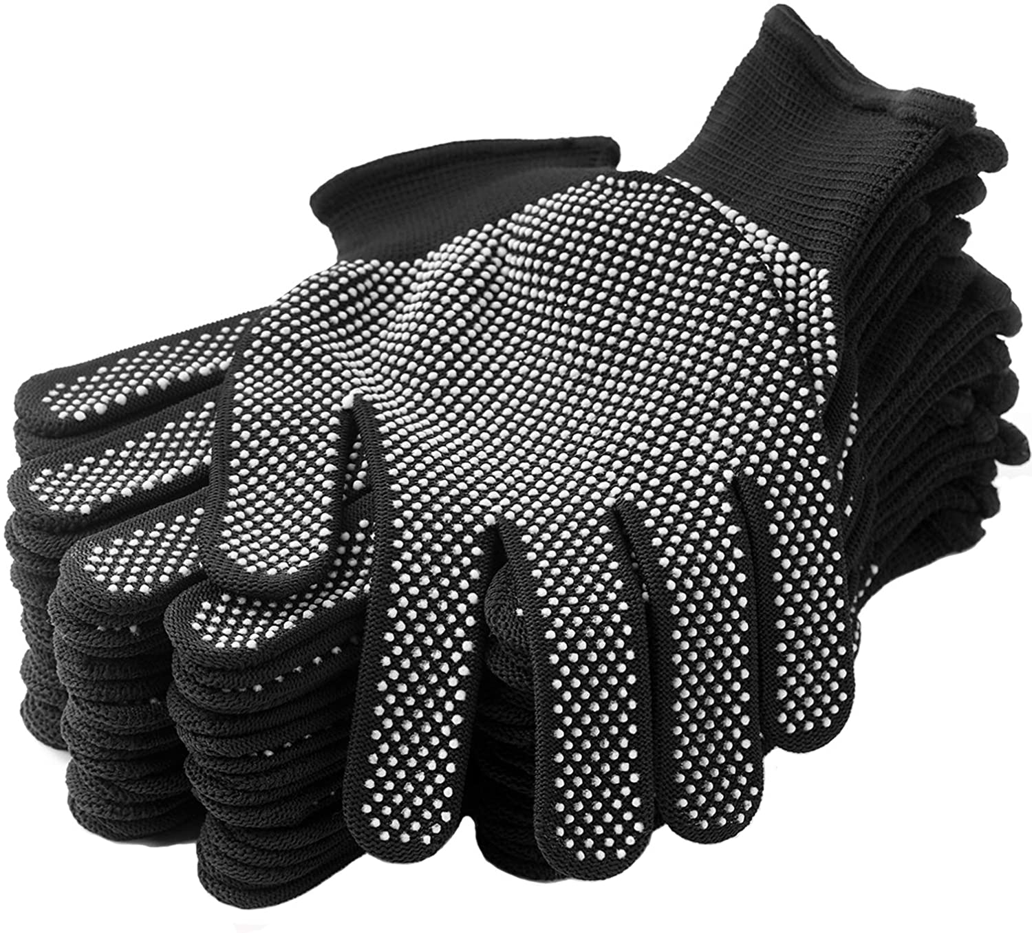 24Pcs Work Gloves Anti-slip Knitted Stretchy Cloth Glove Thin Moist Glove Liners