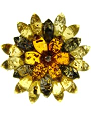 Baltic Amber and Sterling Silver 925 Multi-Coloured Flower Leaf Brooch pin Jewellery Jewelry