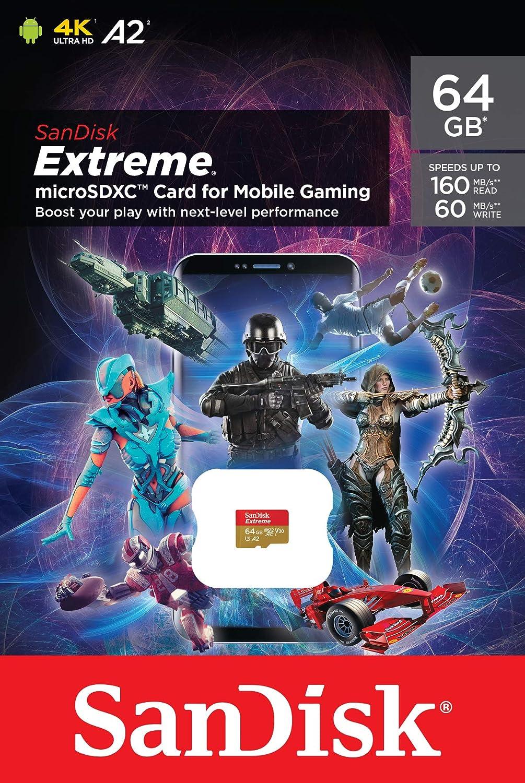 SanDisk Extreme Tarjeta de Memoria microSD de 64 GB para Juegos en el móvil, con A2 App Performance, gráficos de Juegos AAA/3D/VR,Video 4K UHD,160 MB/s Lectura,60 MB/s Escritura,Clase 10,UHS-I,U3,V30