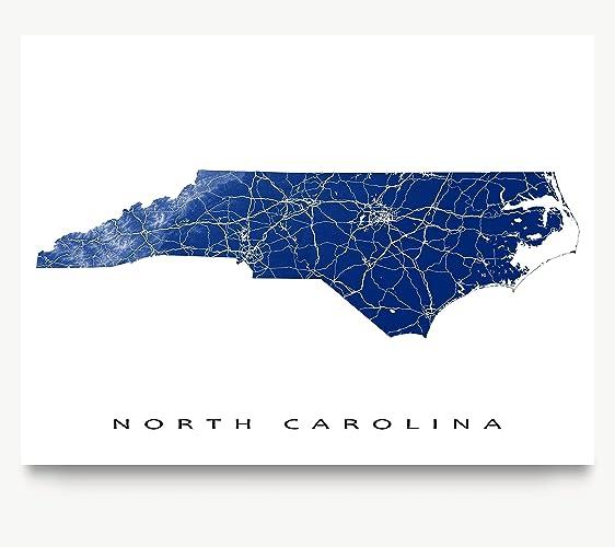 Amazoncom North Carolina Map Art Print NC State Outline USA Wall