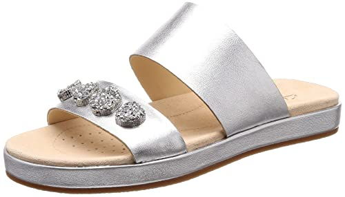 1c1a03156c9 Clarks Women s Botanic Lily Silver Tan Leather Fashion Sandals-3 UK India  (35.5