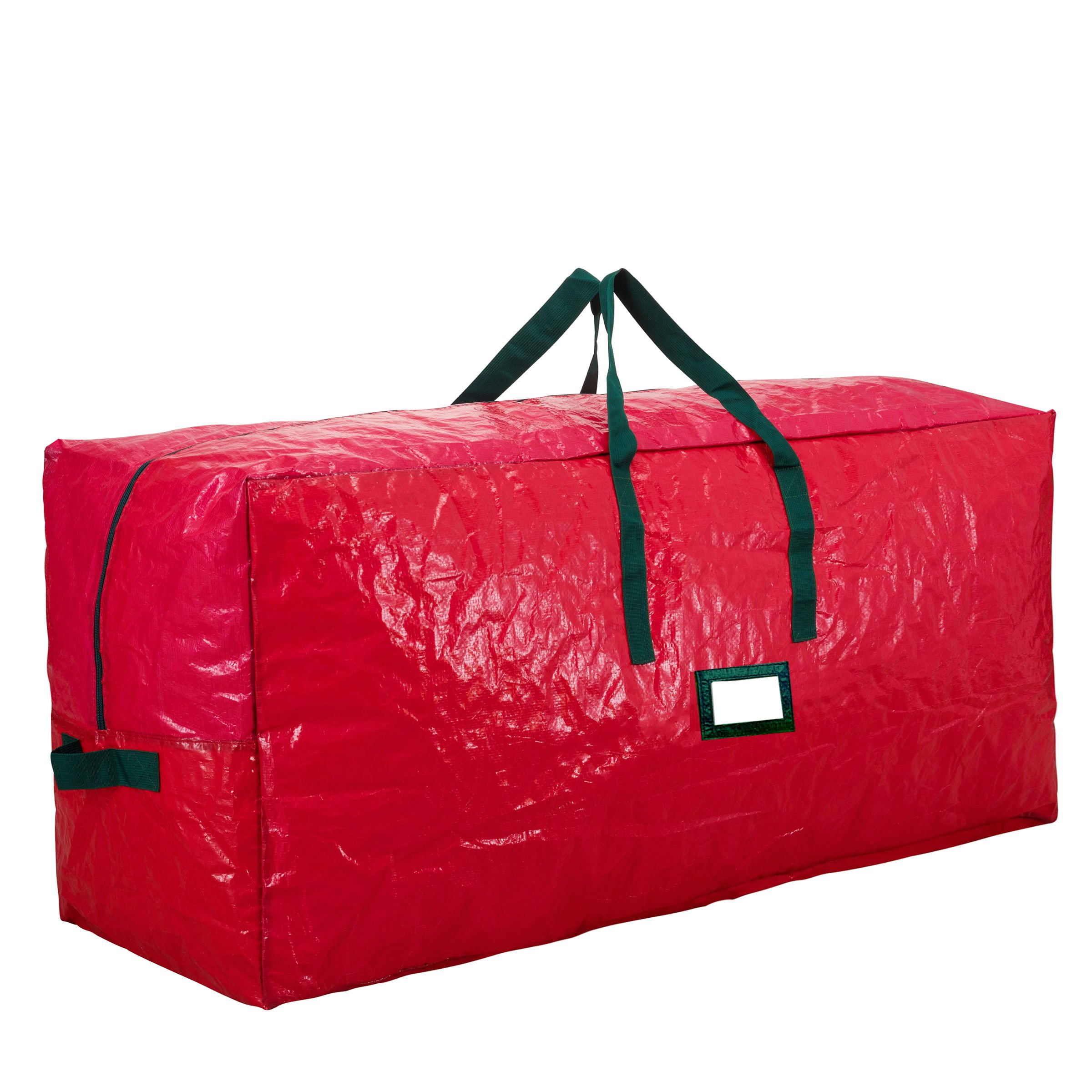 Premium Red Large Holiday Christmas Tree Storage Bag-Fits Trees Up To 7 Feet Tall-Tear Resistant Zippered Bag with Reinforced Handles -48'' L x 20'' W x 15'' D (Red)