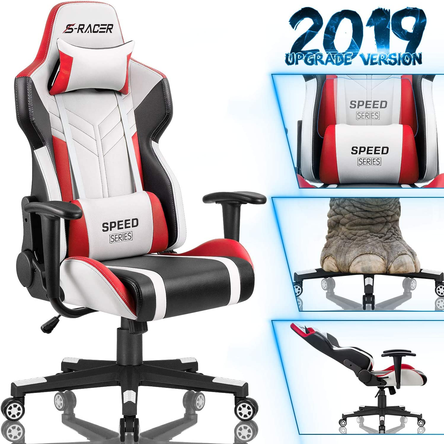 Homall Gaming Chair Racing Style High-Back PU Leather Office Chair Computer Desk Chair Executive and Ergonomic Swivel Chair with Headrest and Lumbar Support White Red