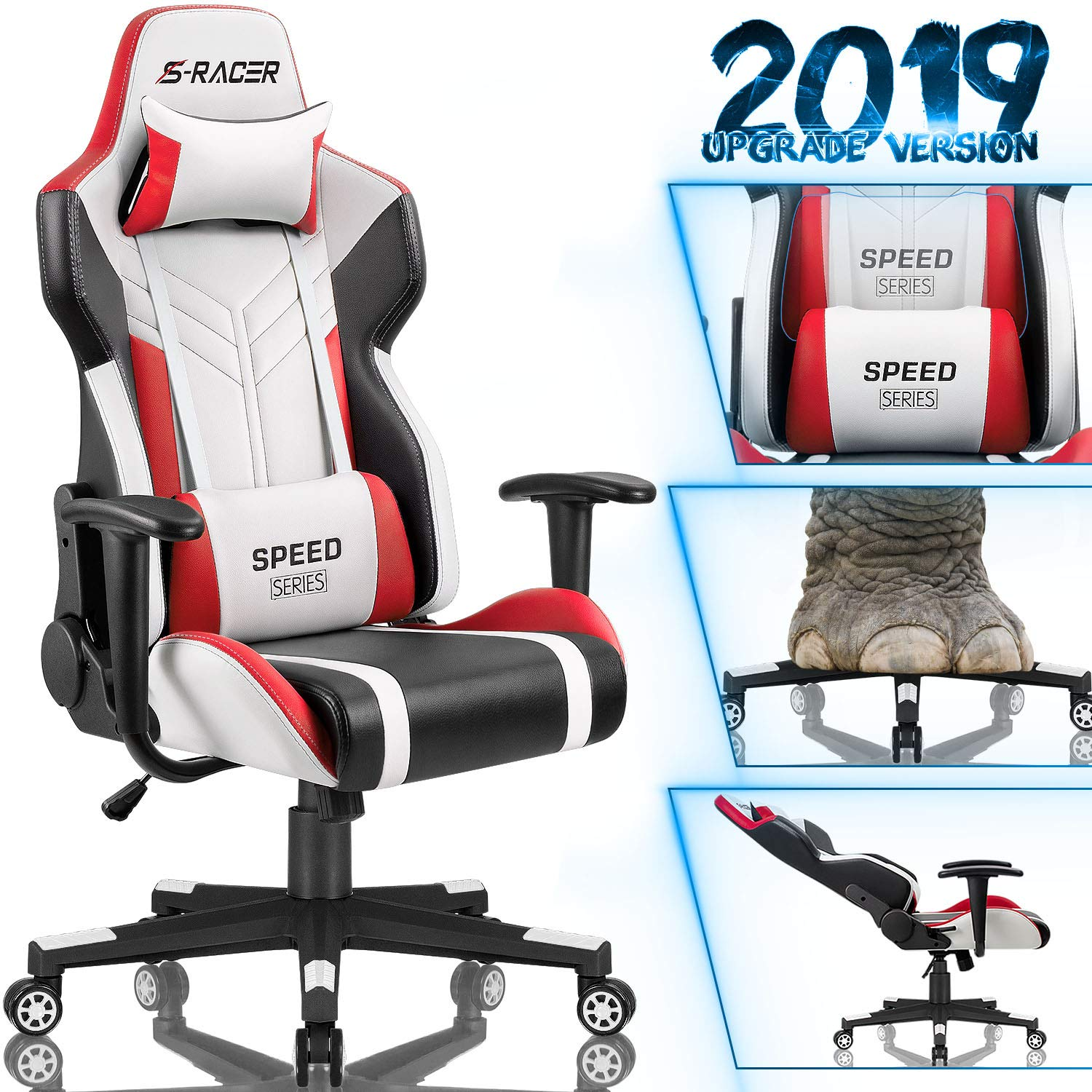 Homall Gaming Chair Racing Style High-Back PU Leather Office Chair Computer Desk Chair Executive and Ergonomic Swivel Chair with Headrest and Lumbar Support (White/Red) by Homall (Image #1)
