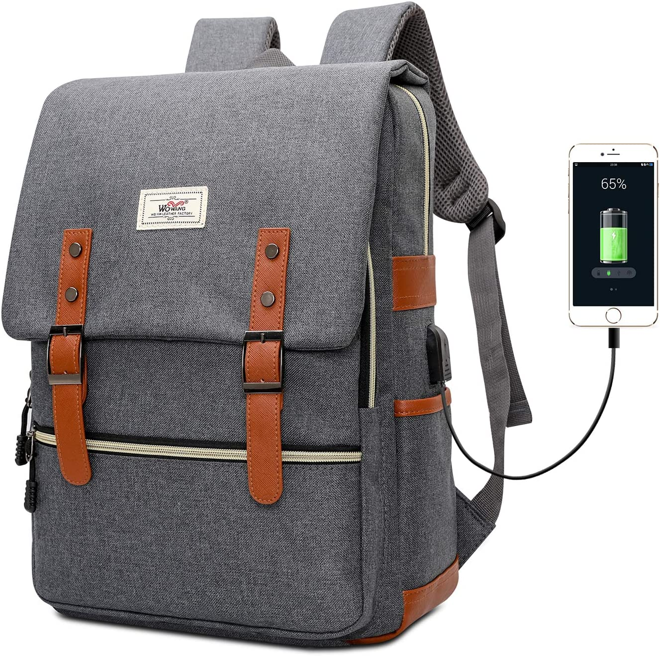 Vintage Slim Laptop Backpack, Unisex Fashion College School Bookbag with USB Charging Port, Waterproof Business Travel Daypack, Fits 15.6 Inch Laptop Notebook