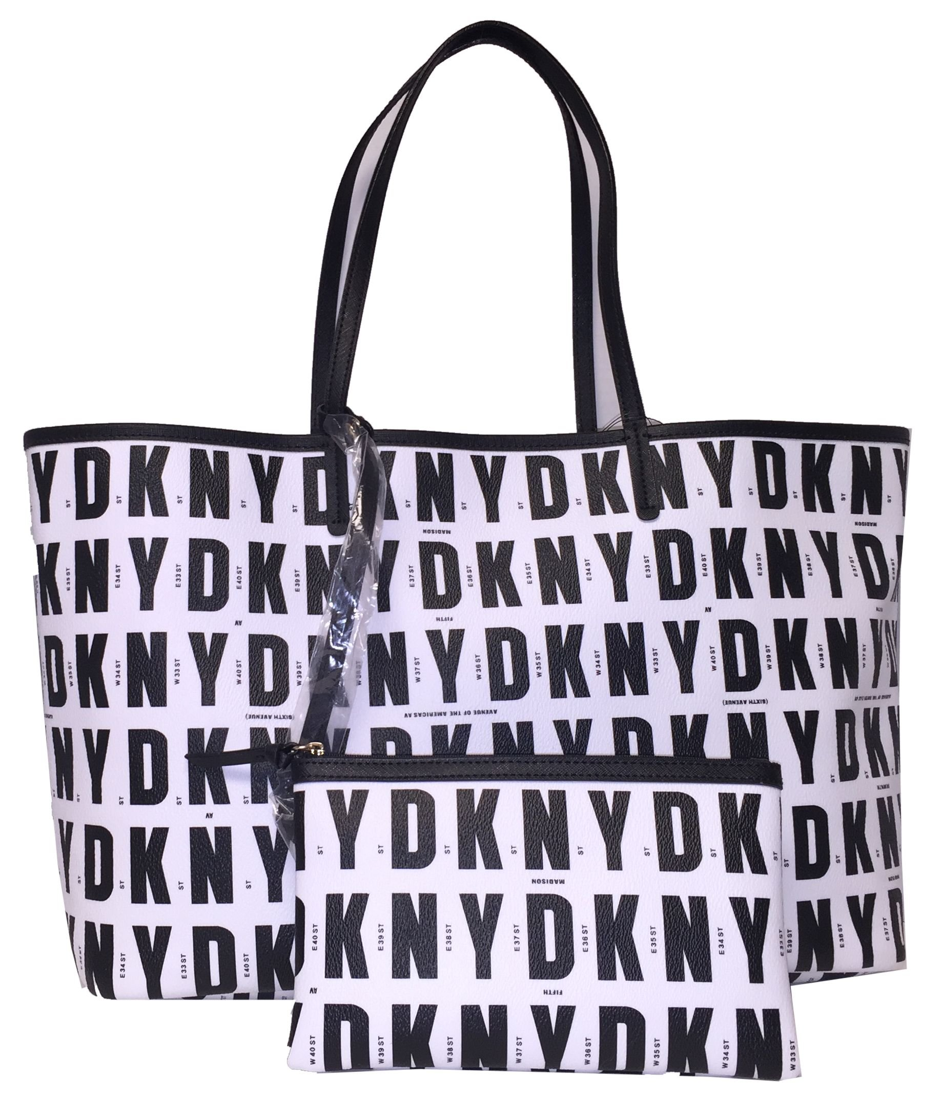 DKNY Logo Signature Reversible Tote with Wristlet