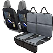 Car Seat Protector Set with Tablet Holder Kick Mat Cover (4 Pack) Thickest Padding - 2 Sets of Car Seat Protectors and Kick Mat Backseat Organizers - Kids, Dogs