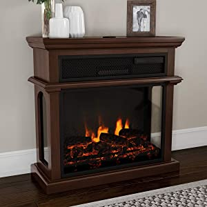 Northwest 80-FPWF-5 Freestanding Electric Fireplace-3-Sided Space Heater with Mantel, Remote Control, LED Flames & Faux Logs, Adjustable Heat & Light (Brown)