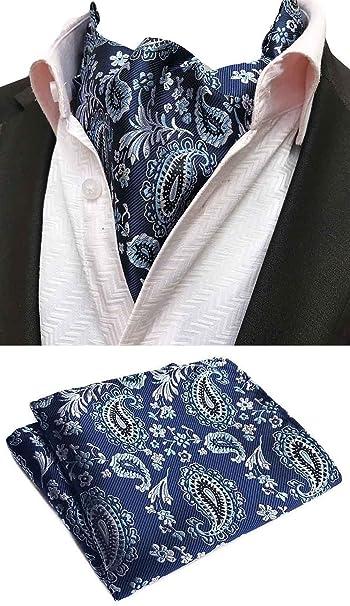 Amazon.com: mohslee Hombres Azul Floral Paisley Cravat ...