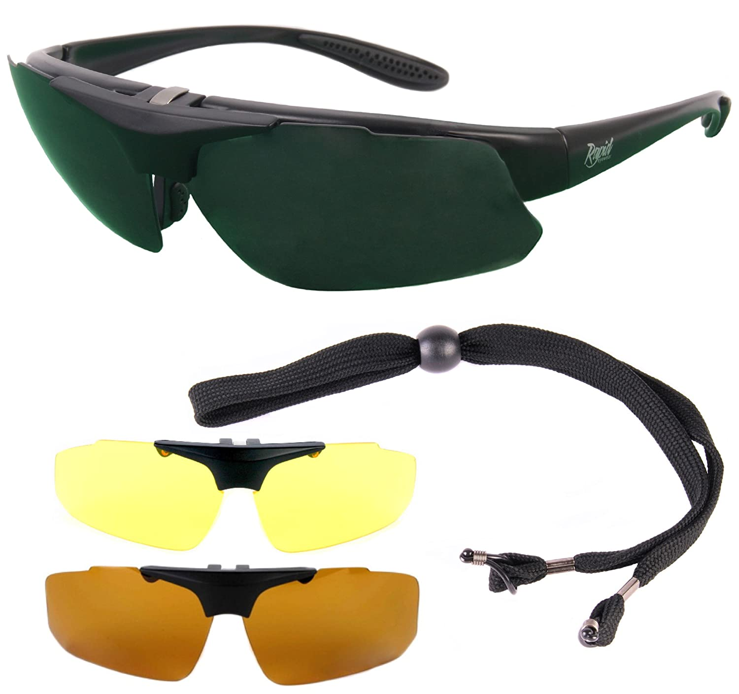 Rapid Eyewear Black Rx Golf Sunglasses Frame for Prescription Spectacle Wearers, with Interchangeable Polarized Lenses. Suitable for Distance, Bifocal Varifocal Correction. Glasses for Men Women