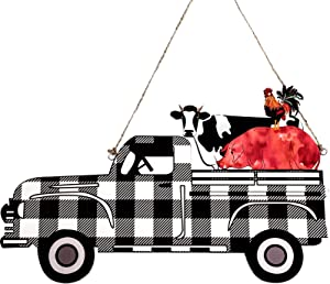 Jetec Vintage Cattle Farm Buffalo Plaid Wooden Truck Sign Farmhouse Wreath Truck with Pig Cow and Chicken Hanging Sign Wood Door Hanger Tiered Tray Decor for Home Window Wall Indoor Outdoor Decor