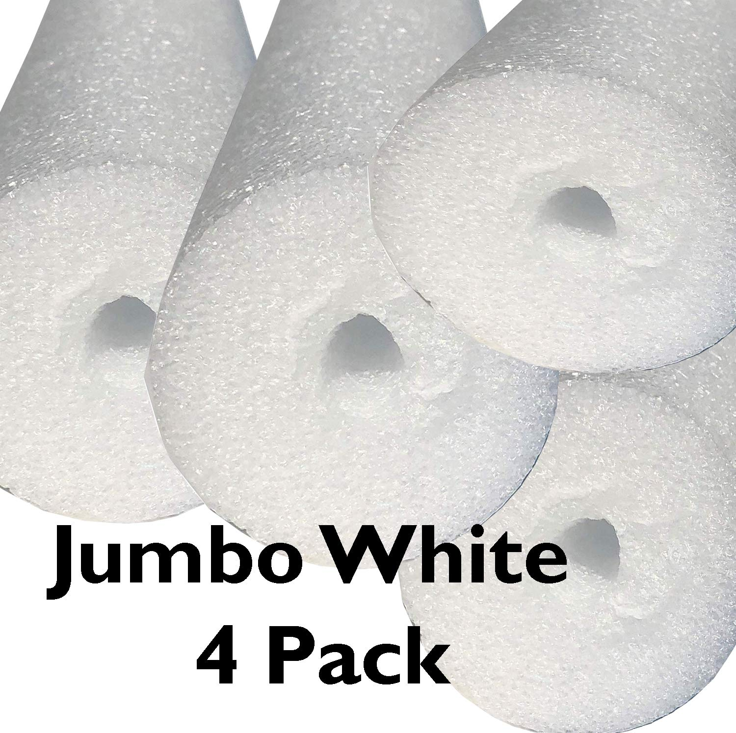 Flex Connex 4 Pack Jumbo 60 Inch x 3.5 Inch Jumbo Swimming Pool Noodle Foam Multi-Purpose (White) by Flex Connex