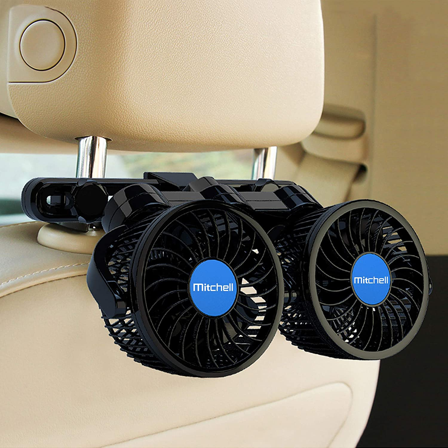 Car Fan, Electric Car Fans for Rear Seat Passenger Portable Car Seat Fan 360 Degree Dual Head Rotatable Back Seat Car Fan 12V Cooling Air Fan with Stepless Speed Regulation for SUV, RV, Van, Vehicles