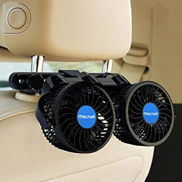 Car Fan RV Dual Head Car Fan Electric 2 Speed Fans 360 Degree Rotatable Backseat Car Fan 12V Cooling Air Fan for SUV Vehicles