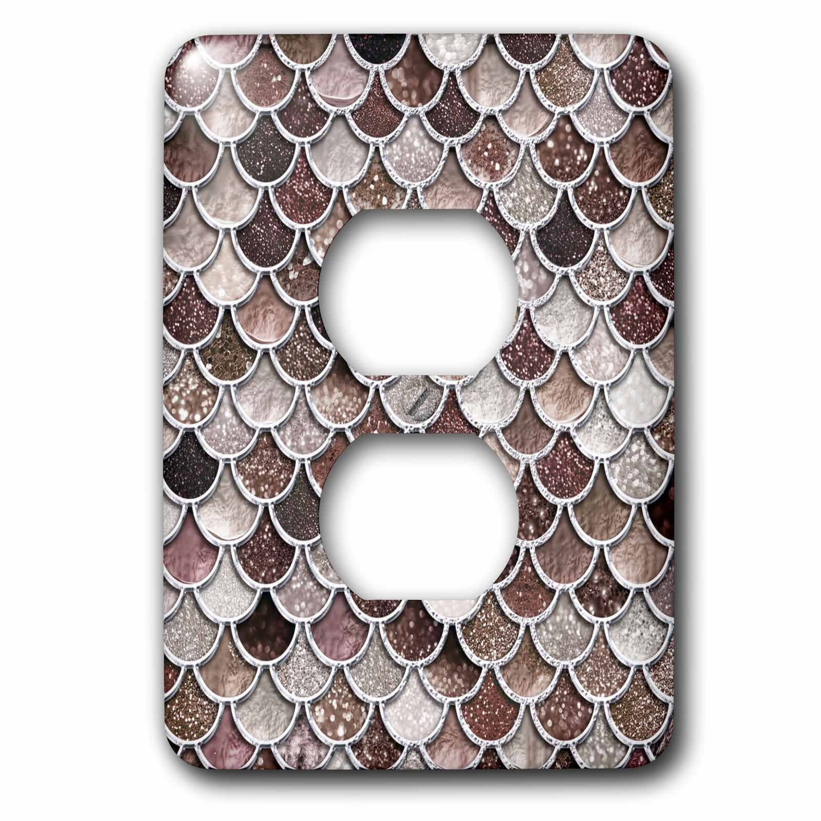 3dRose Uta Naumann Faux Glitter Pattern - Image of Sparkling Brown Luxury Elegant Mermaid Scales Glitter Effect - Light Switch Covers - 2 plug outlet cover (lsp_275445_6) by 3dRose (Image #1)