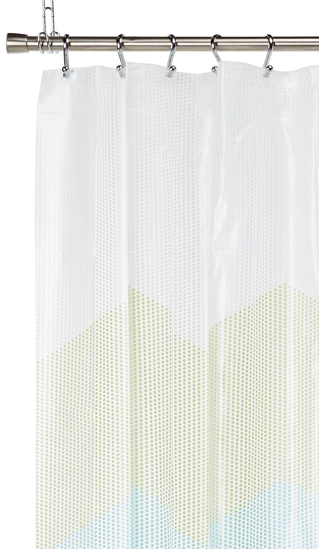 amazoncom zigzag dots blue u0026 green chevron peva shower curtain by mainstays home u0026 kitchen