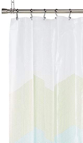Perfect Zig Zag Dots Blue U0026 Green Chevron Peva Shower Curtain By Mainstays