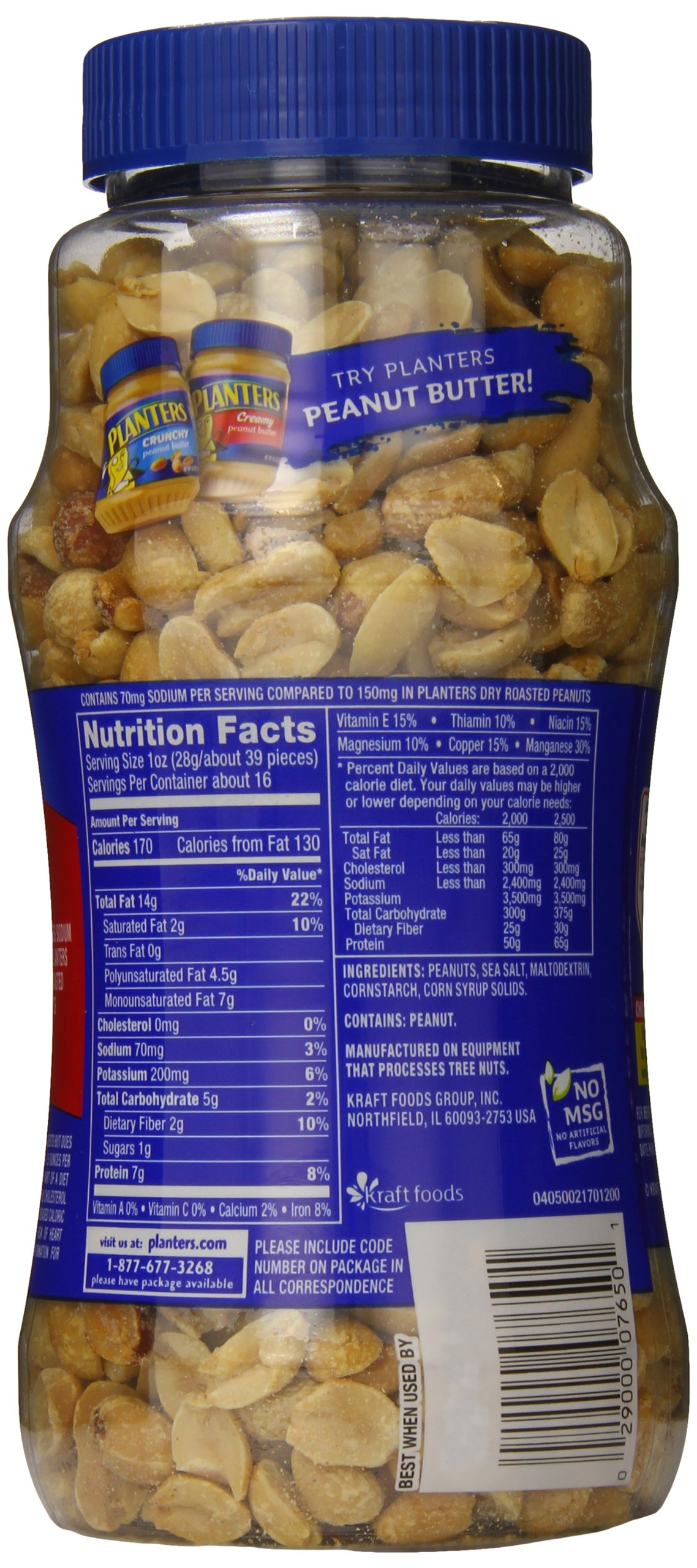 Planters Lightly Salted Dry Roasted Peanuts , 16 ounce (Pack of 4) by Planters (Image #1)