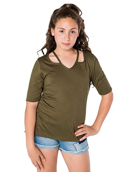 4ae1b1038ab Amazon.com  Smile You Are Beautiful Girls Plus Size Open Shoulder Elbow  Sleeve Top Blouse Olive Green Size 12.5  Clothing