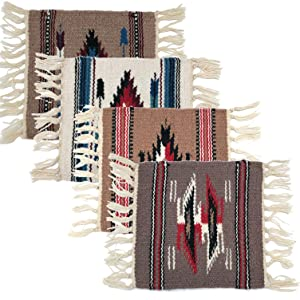 El Paso Saddleblanket Handwoven Chimayo Style Mats 10in x 10in. Perfect for Classic Southwest Decoration Set of 4 (Pack 3)