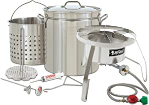 "Enterprises Oversized Big Turkey Fryer Complete Kit 44 Quart Stainless Stockpot w/Steel Burner Turkeys 25+ Pounds or Diameter of 13.5"" TOP of The LINE Model"
