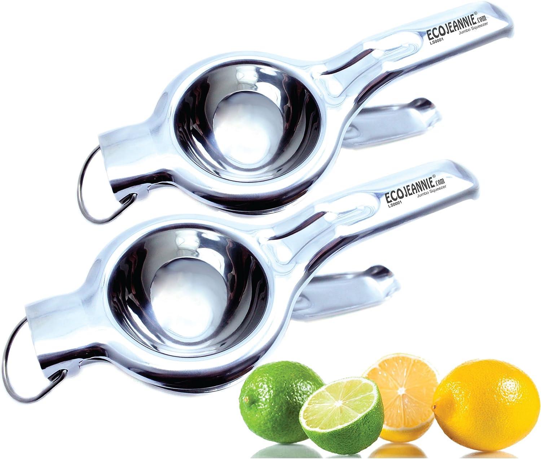TWIN PACK - EcoJeannie Heavy Duty Jumbo Size Food Grade #304 Stainless Steel Lemon Juicer (LS0001), Unbreakable Anti-Corrosive Premium Quality Manual Squeezer, Citrus Juicer, Lime Juicer