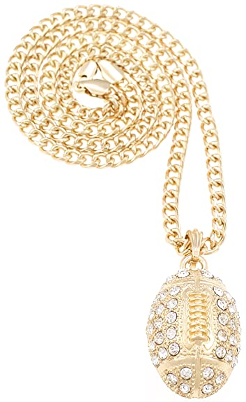 Football new necklace gold color iced out pendant 24 inch cuban link football new necklace gold color iced out pendant 24 inch cuban link style chain aloadofball Image collections