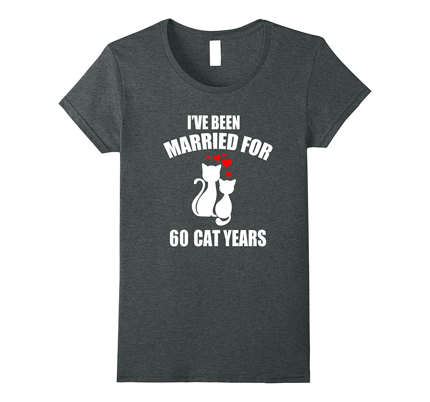 11th Wedding Anniversary T-Shirt 60 Cat Years Gift