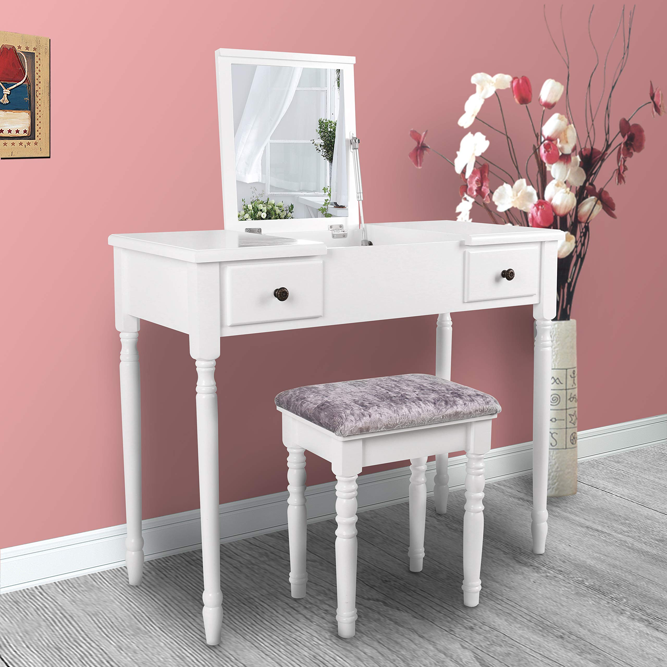 YOUKE Vanity Table with Flip Top Mirror Makeup Dressing Table Writing Desk with Cushioning Makeup Stool Set, 2 Drawers 3 Removable Organizers Easy Assembly (White)