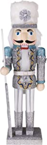 """Clever Creations Traditional Wooden Collectible Snow King Christmas Nutcracker 
