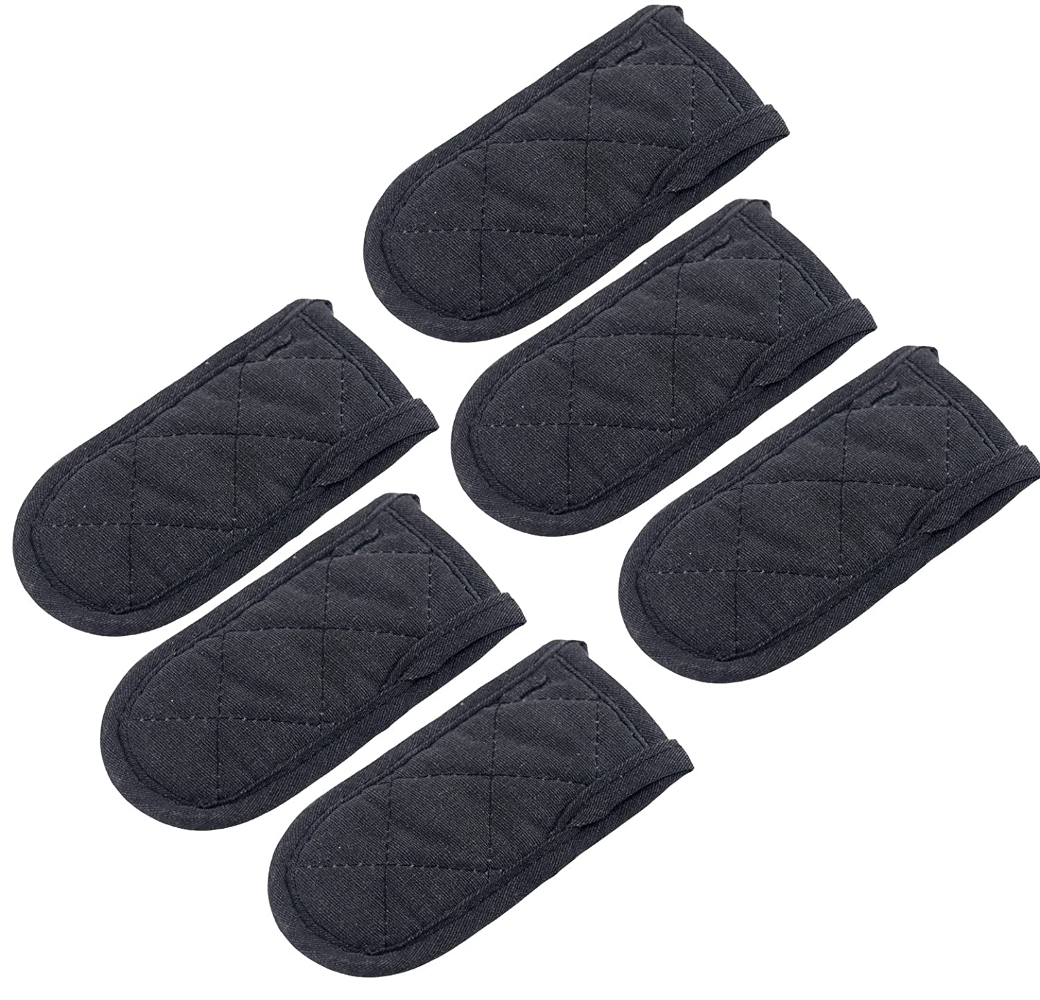 wellhouse Set of 10 Hot Handle Holders Mitts Cotton Potholders Sleeve Grip Handle Cover for Cookware Handles Black-10 Pack