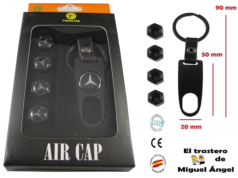 Llavero Mercedes negro metal-cuero y v/álvulas metal