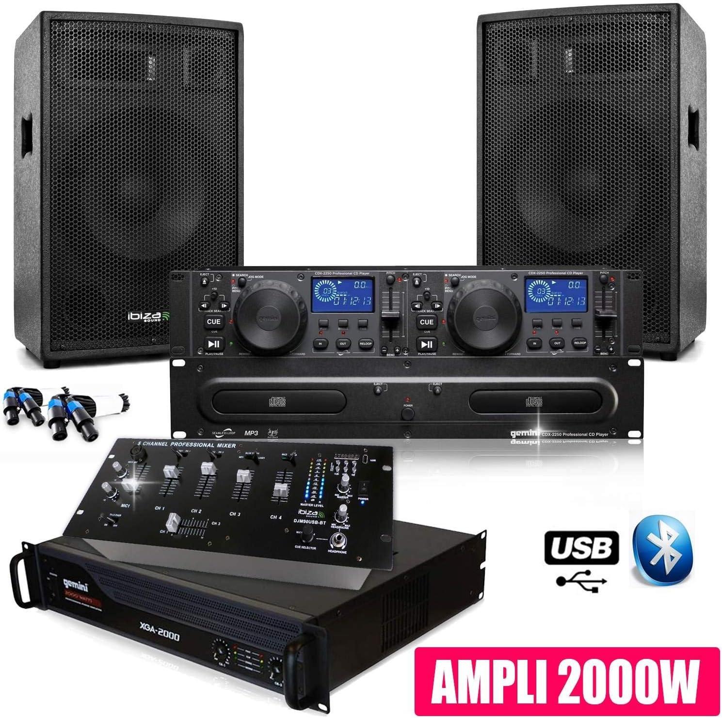 Pack SONO DJ Complet CLUB12 Ampli Gemini Table Mix: Amazon.es ...