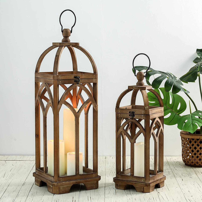 Glitzhome Pack of 2 Farmhouse Decorative Lanterns Wooden Candle Lantern Church Window Frame Lanterns for Wedding Mantle Entryway Home Patio Balcony Garden, Natural, No Glass