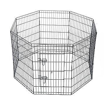 PawHut - Valla para perros, gatos, cachorros, roedores. 8 piezas, 91 x 61 cm, negro: Amazon.es: Hogar