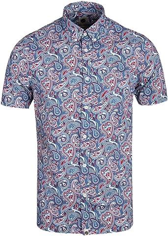Pretty Green Mens Camley Paisley SS Shirt Camisa, Azul (Blue), Small para Hombre: Amazon.es: Ropa y accesorios