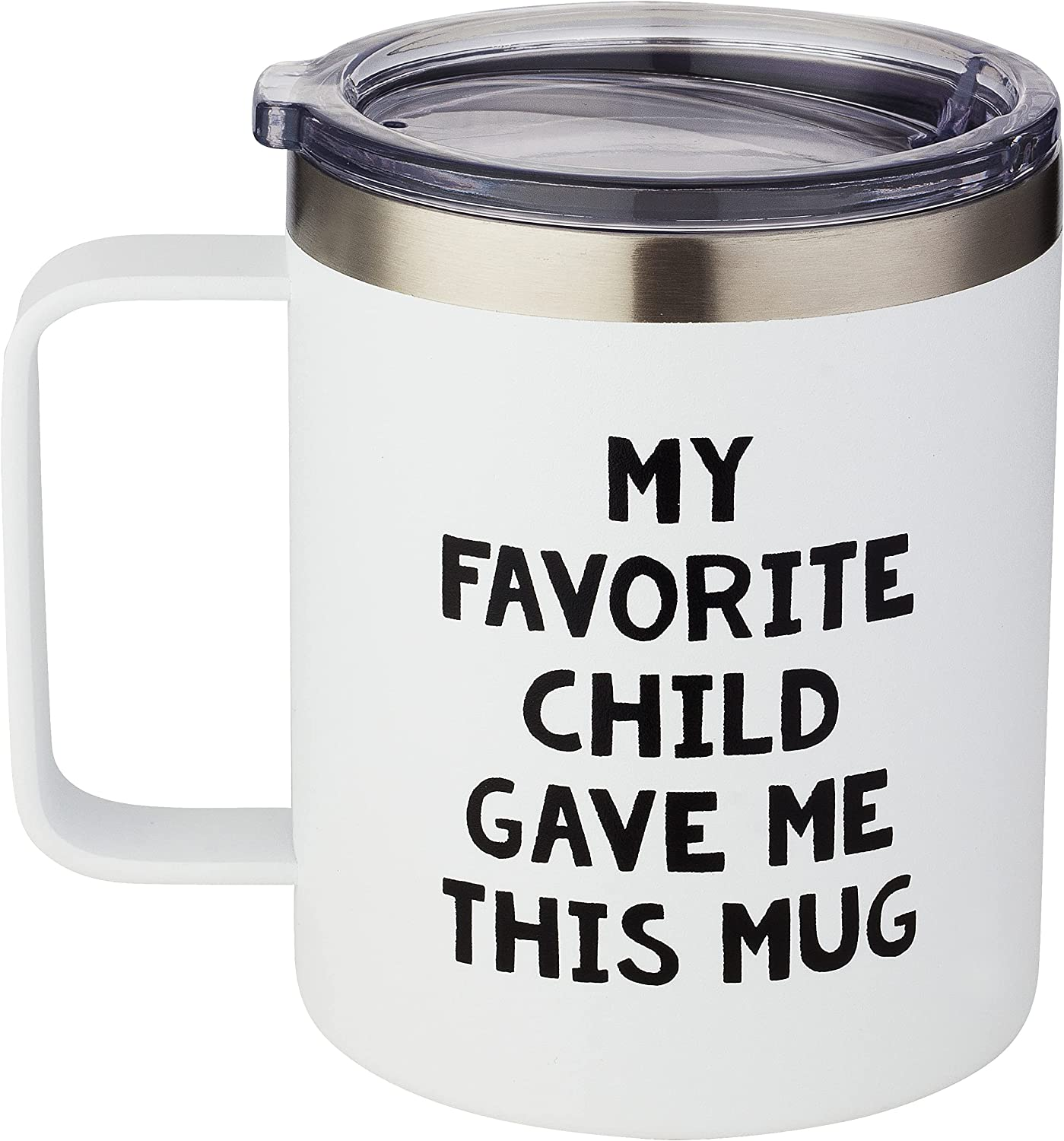 Lightweight & Insulated 12oz Coffee Mug with Lid and Handle - My Favorite Child Gave Me This Mug - Mom Birthday Gifts From Daughter - Gifts For Mom, Dad, Women, Men, Christmas, Retirement, Anniversary