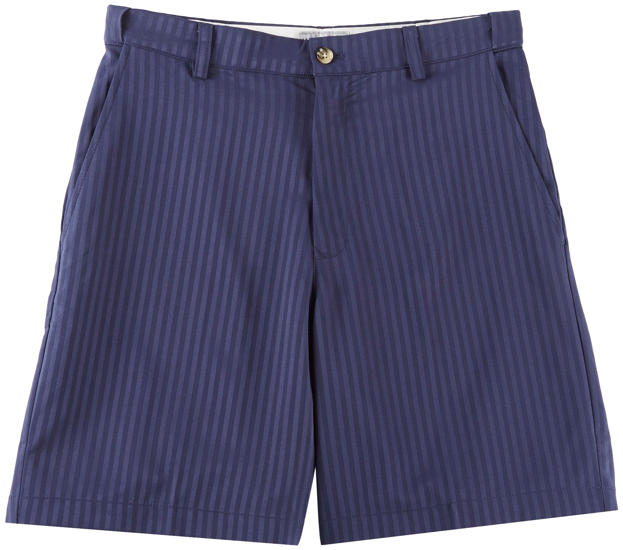 Windham Pointe Mens Stripe Flat Front Shorts 30W Peacoat Blue