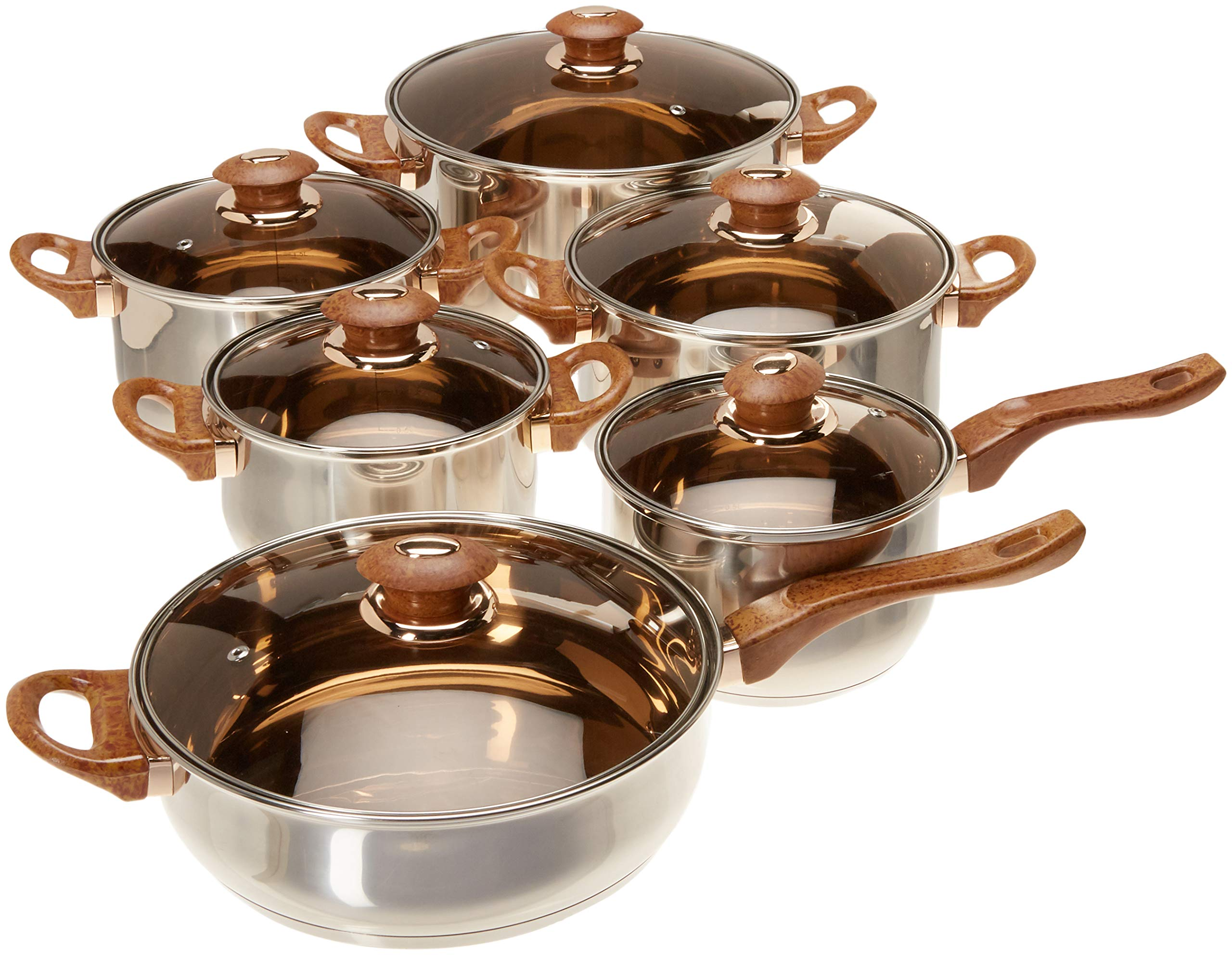 Uniware Stainless Steel Cookware Set (12 Pcs Stainless Steel Brown Handle Pot and Pan set)
