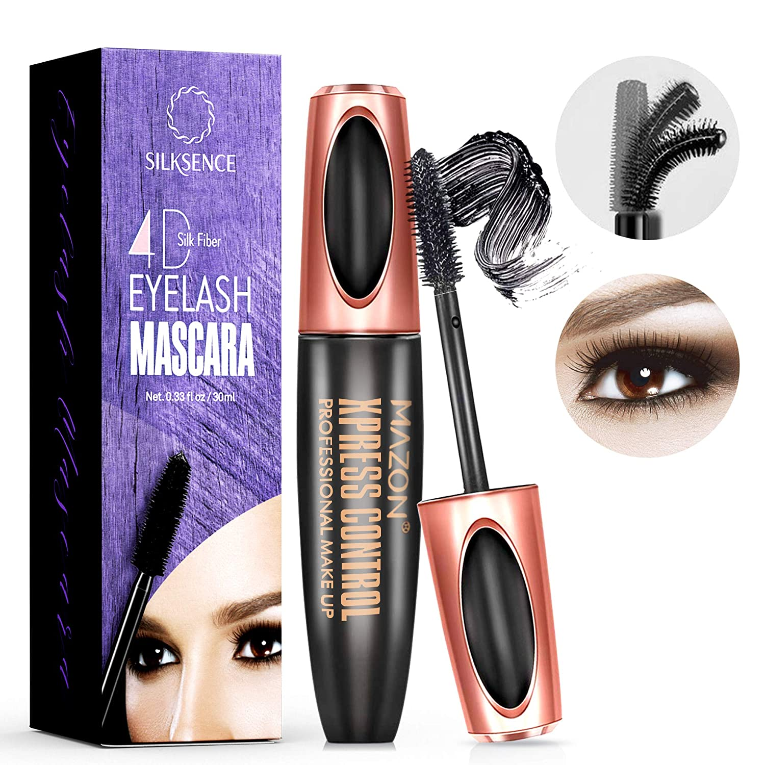 Silksence 4D Silk Fiber Lash Mascara - Waterproof Makeup Eyelash Extension, Sweat proof Long Curling Thick, Long-Lasting, Dramatic Extension, Crazy Long Washable (S1)