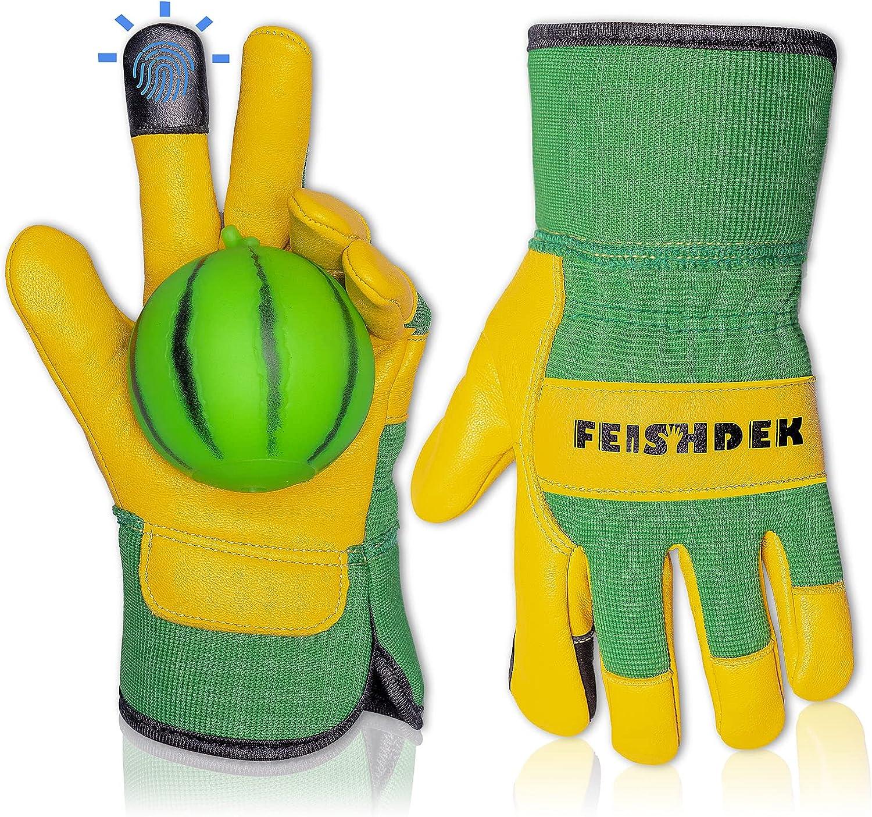 Kids Gardening Gloves Age 3-12, Toddler Youth Kids Leather Work Glove for Garden