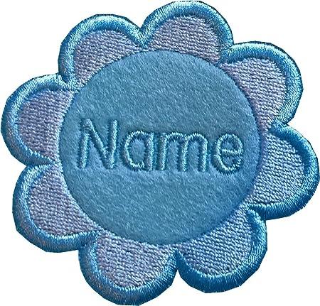 azul Fieltro temporary solution Iron on 8 p/étalos de flor para coser o planchar con nombre bordado personalizable 7,3 x 7 cm