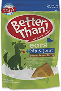 Better Than Ears Premium Dog Treats, Hip & Joint Peanut Butter Flavor, 36 Count Pouch