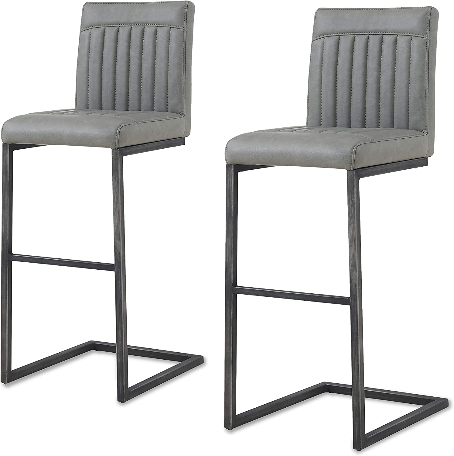 New Pacific Direct Ronan PU Leather Bar, Set of 2 Bar & Counter Stools, Antique Graphite Gray