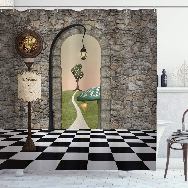 Ambesonne Alice in Wonderland Shower Curtain, Welcome Wonderland Black and White Floor Landscape Mushroom Lantern, Cloth Fabric Bathroom Decor Set with Hooks, 75