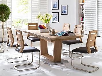Esszimmer Set Tisch 180 X 100 Cm Eiche Bianco Massiv Geölt Mit 6 Schwingern